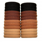 Syleia 24 Hair Ties For All Hair Types No Damage No Metal Elastics Brown Black Beige Colours