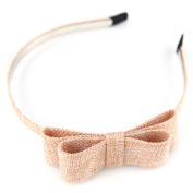 Linen Vintage Style Double Bow Head Hair Band - Peach Coral