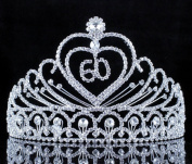 Janefashions 60-Year-Old Birthday Party Austrian Rhineston Tiara Crown Hair Combs T807 Silver