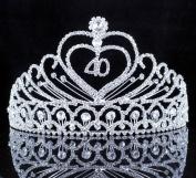 Janefashions 40-Year-Old Birthday Party Austrian Rhineston Tiara Crown Hair Combs T806 Silver
