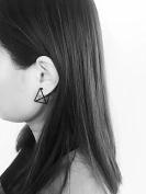 Leiothrix Minimalist Stereoscopic Triangle Black Earrings for Women and Girls Apply to Party and Casual