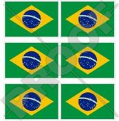 "BRAZIL Brazilian Flag 40mm (1,6"") Mobile Cell Phone Vinyl Mini Stickers, Decals x6"