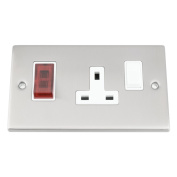 Cooker Control Unit - Satin Matt Chrome Square - White Insert - 45A Switch with 13A Socket