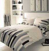 PRINTED DOUBLE BED DUVET QUILT COVER BEDDING SET + PILLOWCASE BLOCKS BLACK GREY by Gaveno Cavailia