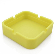 Soft Silicone Unbreakable Ashtray Square yellow