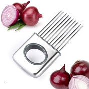 JJMG NEW Onions Tomato Cutting Tool Stainless Steel Kitchen Onion Plug Cucumber Vegetable Slicer Comb – Easy Convenient Keeps Hands Away from Injury & Food Odour
