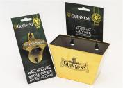 Guinness Ireland Gold Wall Mount Bottle Opener & Cap Catcher Set