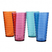 Splash Premium Quality Plastic 530ml Water Cup Tumblers | Set of 8 in 4 Assorted Colours