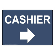 ComplianceSigns Plastic Cashier (With Right Arrow) Sign, 25cm X 18cm . with English Text and Symbol, White on Navy