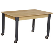 Wood Designs WD848A1829C6 - Mobile 60cm x 120cm Rectangle Hardwood Table with Adjustable Legs 50cm - 80cm