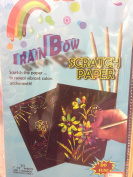 Creative Motion Rainbow Scratch Paper, Includes 10 Sheets and 1 Bamboo Scratch Tool