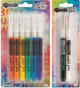 Dyan Reaveley's Dylusions Paint Pens - Six Colour Pack + White Linen & Black Marble