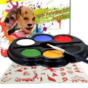 Happlee Face Painting Kit for Kids with 25 Stencils, 6 Colour Palette for Kids, Sturdy Case 1 Brushes, Water-Based Body Painting, Best Quality Professional Face Painting Party Set