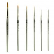 Golden Taklon Short Handle Detail and Rounds Artist Brush Set Sizes 10/0, 5/0, 1, 4, 6, 8