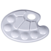 BUYITNOW 2 Pcs Paint Mixing Palette Art Plastic Painting Tray with 10 Wells Thumb Hole White for Artist Student