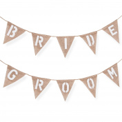 Bride and Groom Burlap Chair Banner for Weddings, Receptions, Rehearsals