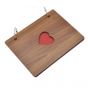Handmade Wood Photo Album Wire Binding Hollow Heart Cover Scrapbook