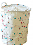 DuShow Cotton Fabric Collapsible Laundry Basket Dirty Clothes Hamper   Perfect for Kids Bedroom & Bathroom Washroom 4 Colours