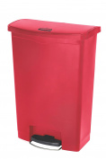 Rubbermaid Commercial Slim Jim Front Step-On Trash Can, Plastic, 90.8l, Red