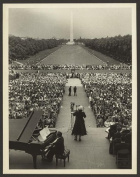 Photo: Marian Anderson, sing, audience, Washington Monument, service, Harold Ickes, 1952 . Size