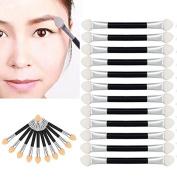 Baomabao 12Pcs Eye Shadow Eyeliner Makeup Double-endBrush Sponge Applicator Tool