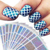 Alonea 12 Sheets New Nail Hollow Irregular Grid Stencil Reusable Manicure Stickers
