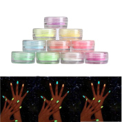 Alonea 10PC/set Nail art Fluorescerende Powder Nail Decoration for Glow in Dark Kit