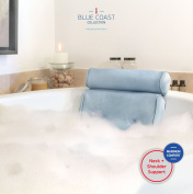 The Bonnieu Luxury Bath Pillow by Blue Coast Collection. Best Neck and Shoulder Support with Super Soft Fibres, 4 Large Suction Cups. Non Slip bathtub pillow, Odour Resistant, Large Size