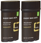 Every Man Jack Aluminium Free Deodorant Sandalwood Pack of 2