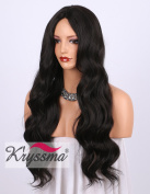 K'ryssma Dark Brown Synthetic Wigs for Women - Natural Looking Brown #2 Middle Part Wavy Long Hair Wig Heat Resistant