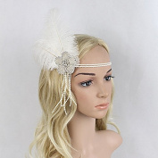 Meiliy Vintage Sequined Feather Headband 1920s Headpiece Art Deco Gatsby Flapper crystals Bridal Headband