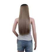 60cm Long Clip in Hair Extensions One Piece Hairpiece 3/4 Half Hair Wig with 5 Clips Brown