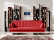 Limari Home Ryan Collection Modern Fabric Upholstered Living Room Sofa Bed, Red