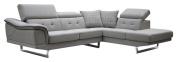Limari Home Dana Collection Modern Fabric Upholstered Living Room Sectional Sofa, Grey