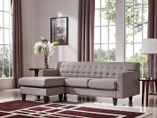 Limari Home Kelly Collection 2 Piece Modern Fabric Upholstery Living Room Sofa and Ottoman Set, Grey