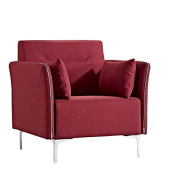 Limari Home Alina Collection Modern Fabric Upholstered Living Room Lounge Chair, Red