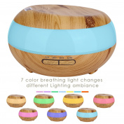 Ledsniper 300ml Aromatherapy Essential Oil Diffuser Humidifier with 7 Colour LED Lights and Waterless Auto Shut-off- Wood Grain