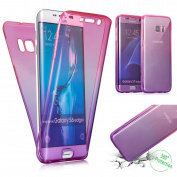 Galaxy S7 Edge Case,PHEZEN Scratch Proof 360 Front and Back Full Body Protection Semi Transparent Flexible TPU Bumper Case Anti-Scratch Protective Case For Samsung Galaxy S7 Edge, Gradient Pink Purple