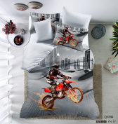 3D Motorcycle Pattern Boys Mens Duvet Cover Set Microfiber in the city Multi-colour Grey Twin