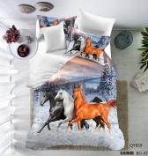 3D Oil Painting Horse Pattern Mangogo 3PC Bedding Sets for Men Boys Multi Colour White Full