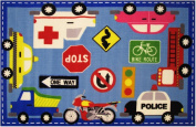 Downtown Transportation And Traffic Control Themed Kids Area Rug 100cm x 150cm - Rugs 4 Less Collection