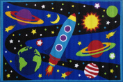 Spaceship Near Planets In The Galaxy Kids Area Rug 100cm x 150cm - Rugs 4 Less Collection