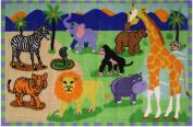 Animal Safari Park Kids Area Rug 100cm x 150cm - Rugs 4 Less Collection