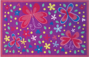 Pink And Purple Butterfly And Flowers Kids Area Rug 100cm x 150cm - Rugs 4 Less Collection