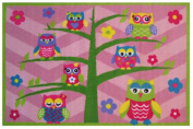 Pink Owls On A Tree With Flowers And Chevron Patterns Kids Area Rug 100cm x 150cm - Rugs 4 Less Collection