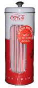 Coca-cola Tin Collectible Drinking Straw Holder Dispenser With 50 Straws