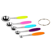 PER-HOME Professional Set of 5 Rust Free Kitchen Essentials,Stainless Steel Measuring Coloured Handles Spoons - Easy to Read Teaspoon Measurements