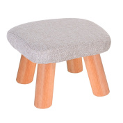Solid Wood Change Shoe Stool Footstool Test Shoe Stool Round Upholstered Footstools 4 Wood Leg Pouffes Stool Fabric Cover