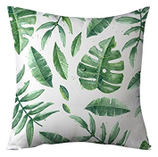 decorpillow Green Banana Leaves Decorative Cushion Cover Case for Sofa Square White Throw Pillow Covers for Living Room 45 x 45 cm