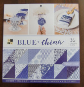 DCWV BLUE CHINA Stack 36 DOUBLE-SIDED Printed Cardstock 30cm x 30cm Scrapbook